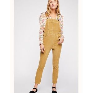 Free People Slim Ankle Cord Overalls